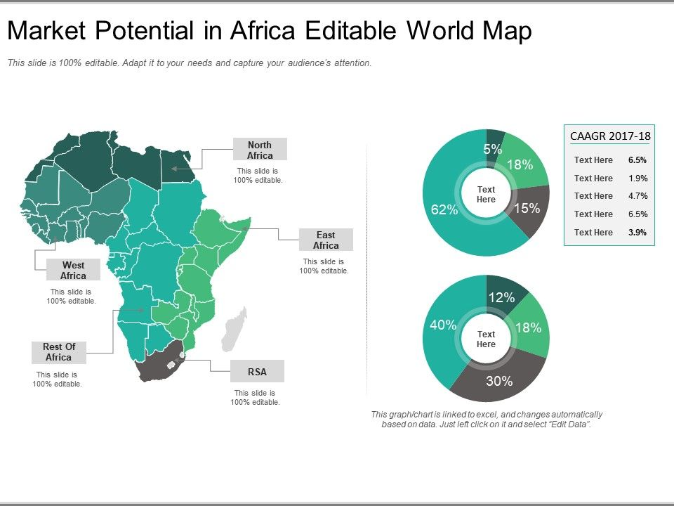 Market Potential In Africa Editable World Map Ppt Model | PowerPoint