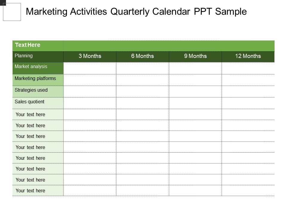 Marketing Activities Quarterly Calendar Ppt Sample  Powerpoint