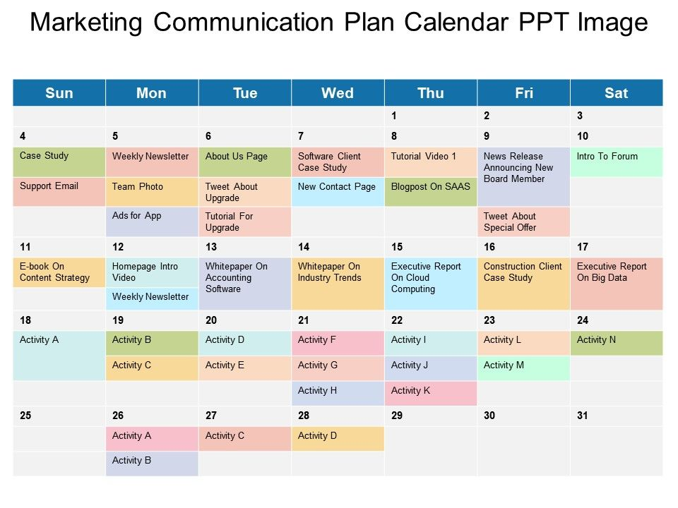 marketing communication plan calendar ppt image