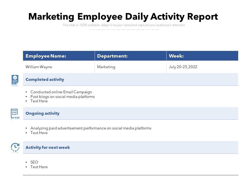 Marketing Employee Daily Activity Report
