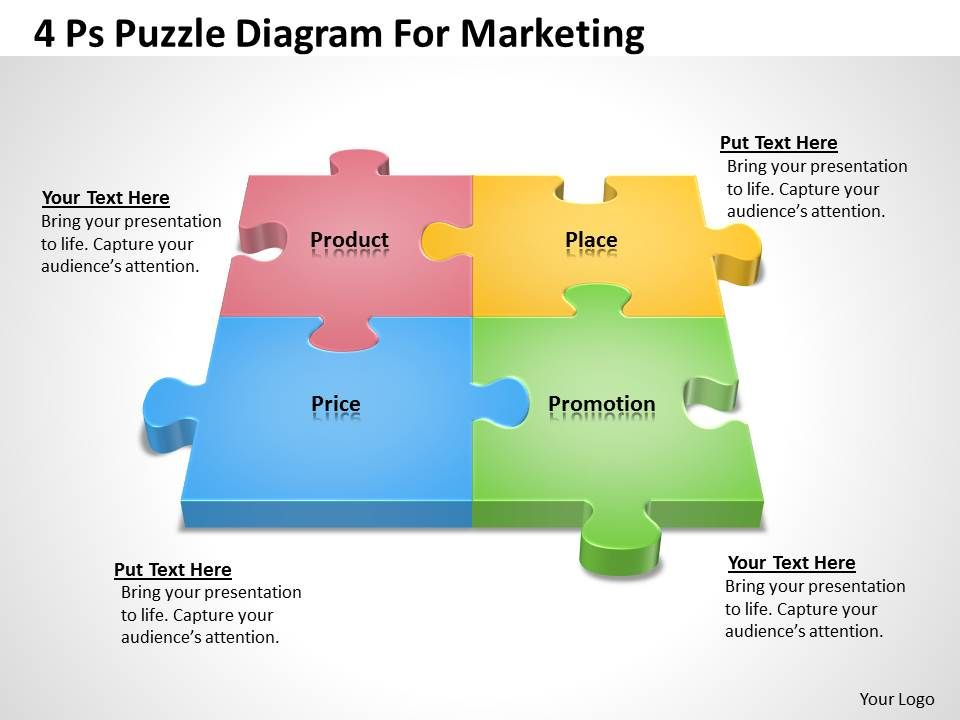 Marketing Plan 4 Ps Puzzle Diagram For Powerpoint Templates Ppt
