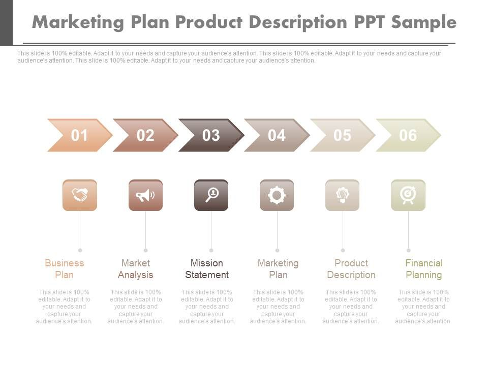 Marketing Plan Product Description Ppt Sample | Presentation