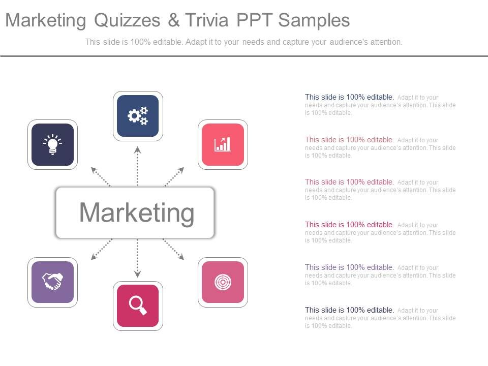 Professional Sales Presentation showing marketing quizzes and trivia