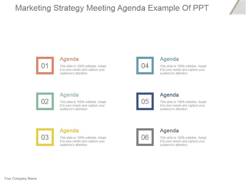 Marketing Strategy Meeting Agenda Example Of Ppt | PowerPoint ...