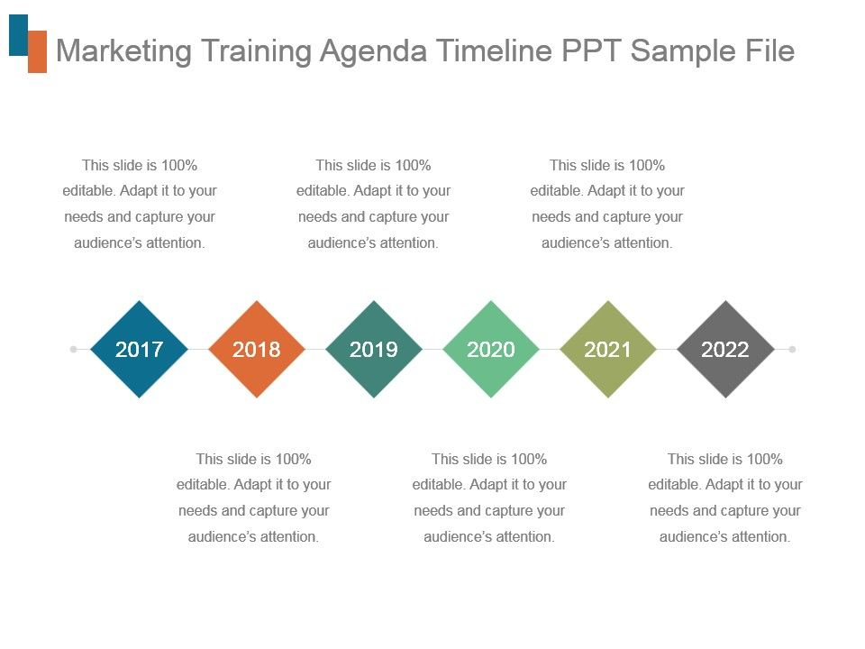Marketing Training Agenda Timeline Ppt Sample File | PowerPoint Slide  Presentation Sample | Slide PPT | Template Presentation