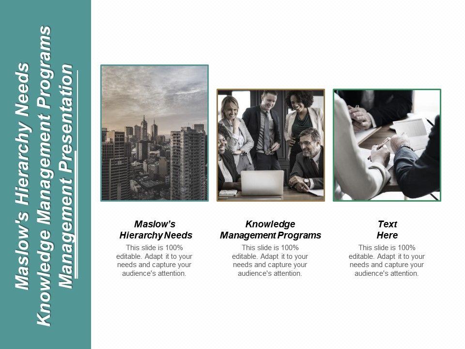 maslows_hierarchy_needs_knowledge_management_programs_management_presentation_cpb_Slide01