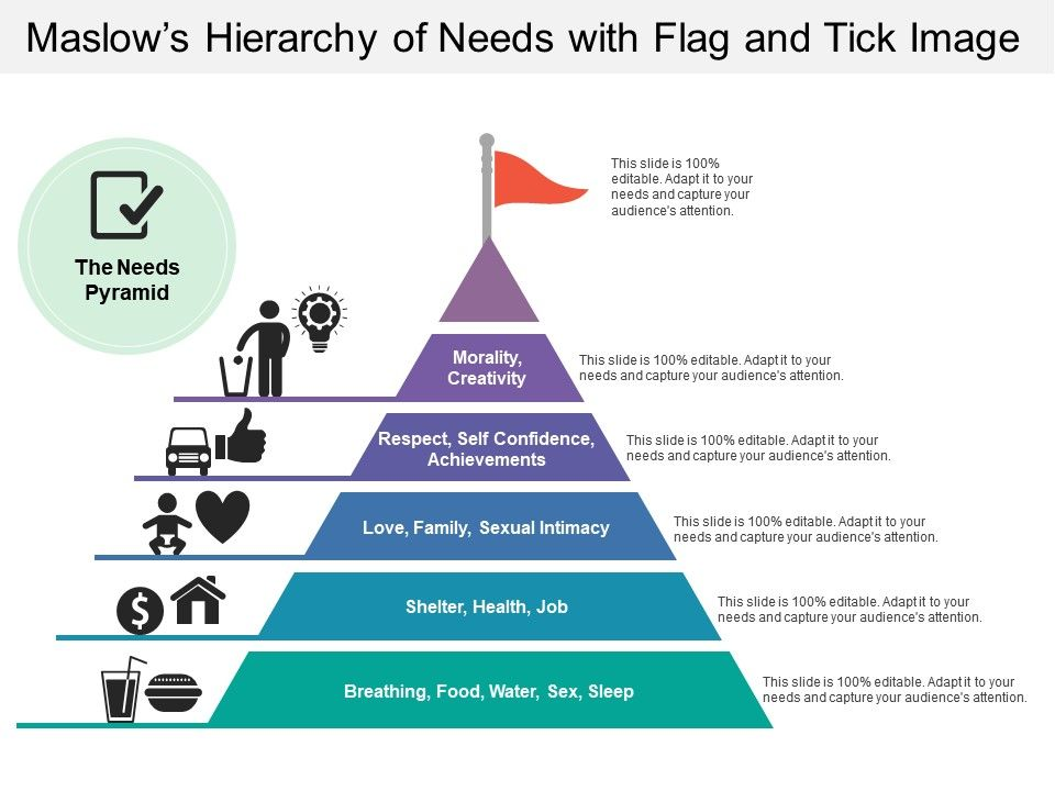 Maslows Hierarchy Of Needs With Flag And Tick Image Powerpoint