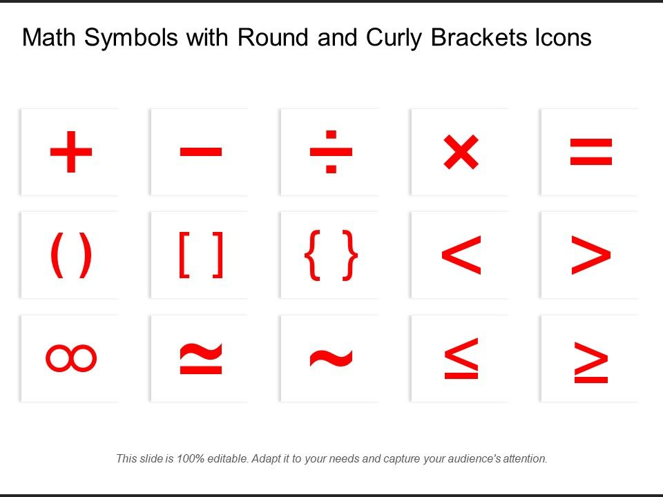 Math Symbols With Round And Curly Brackets Icons | Templates