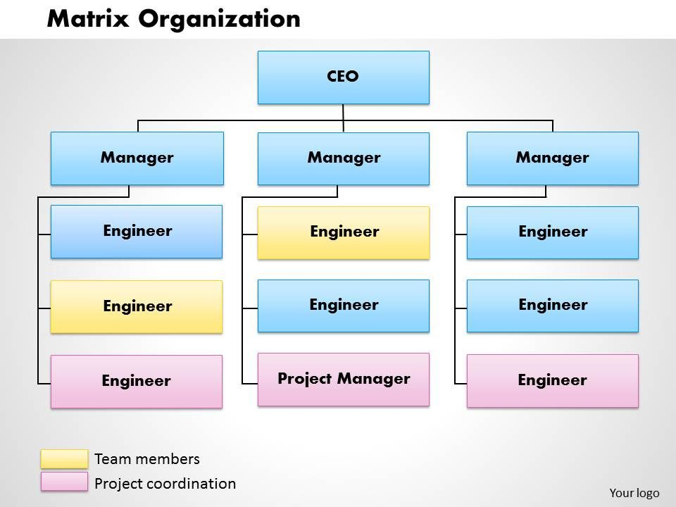 matrix organization powerpoint presentation slide template ppt