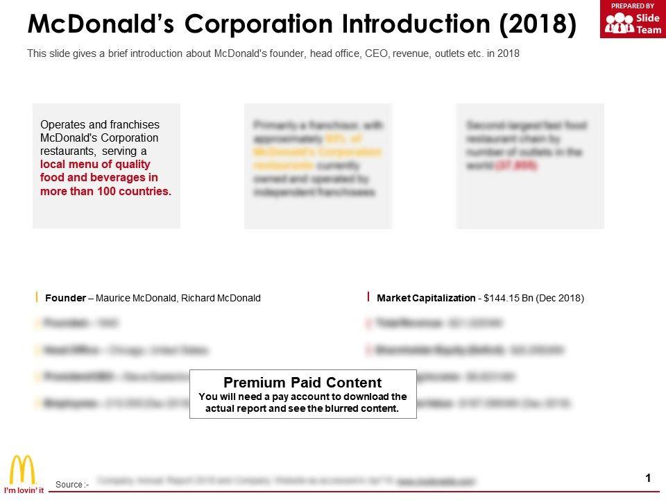 Mcdonalds Corporation Introduction 2018