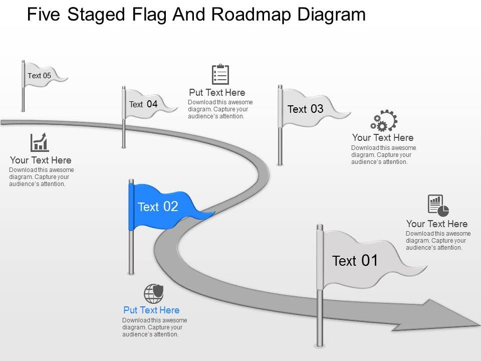md Five Staged Flag And Roadmap Diagram Powerpoint Template