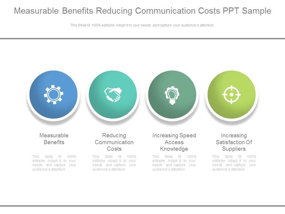 measurable benefits reducing communication costs ppt sample, Presentation templates