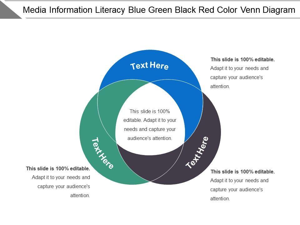 media information literacy blue green black red color venn diagram rh slideteam net venn diagram activity
