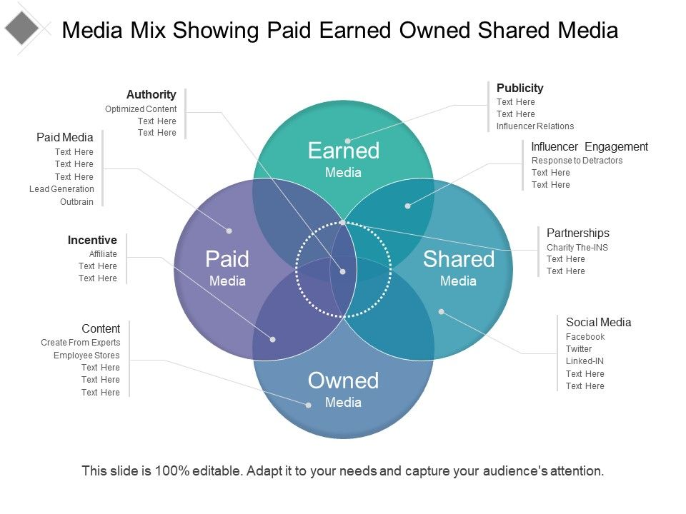Media Mix Showing Paid Earned Owned Shared Media Presentation