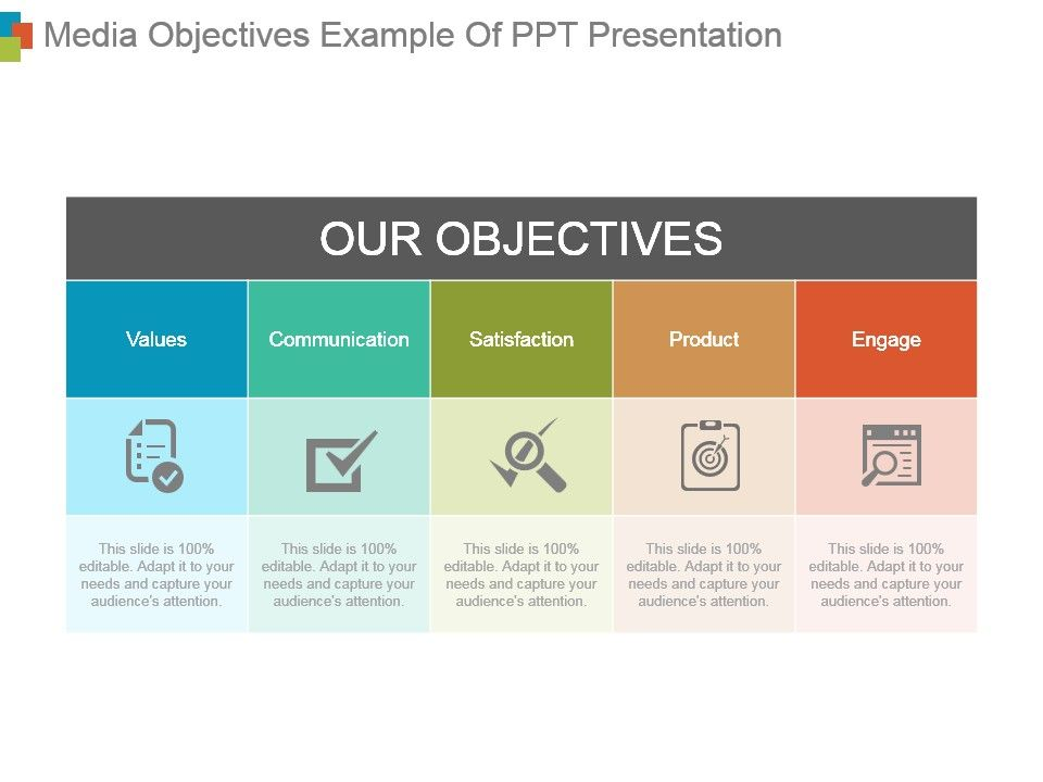 Media Objectives Example Of Ppt Presentation | PowerPoint Templates