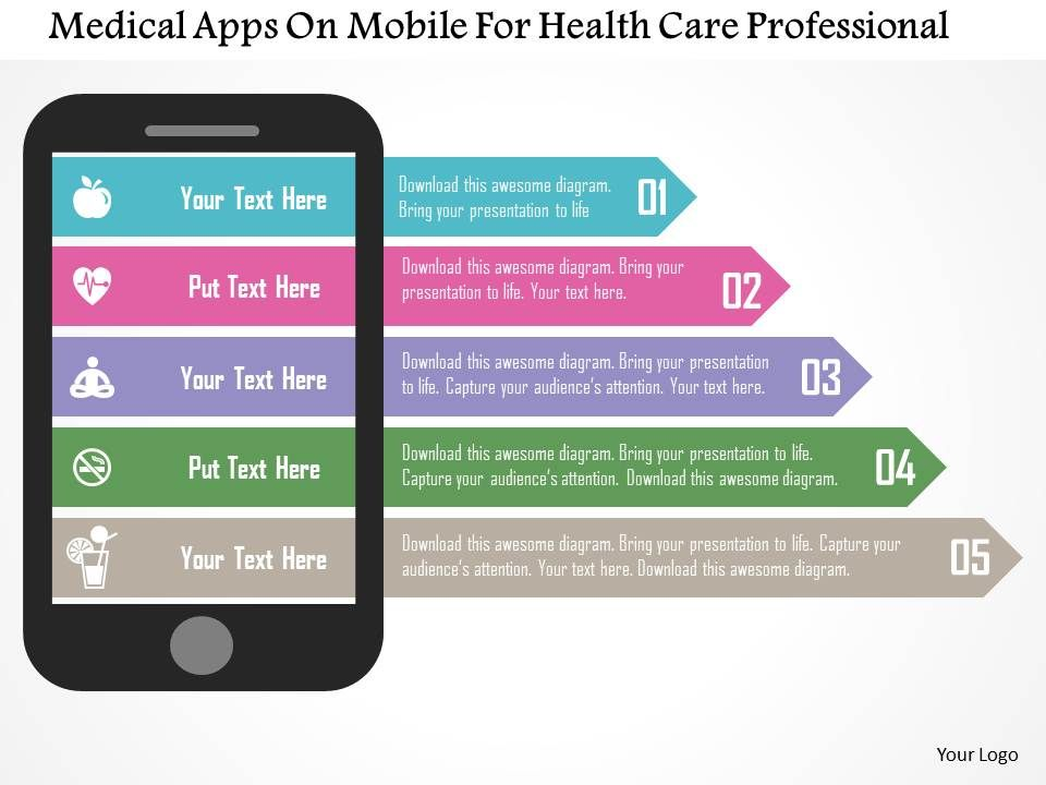 medical_apps_on_mobile_for_health_care_professional_flat_powerpoint_design_Slide01