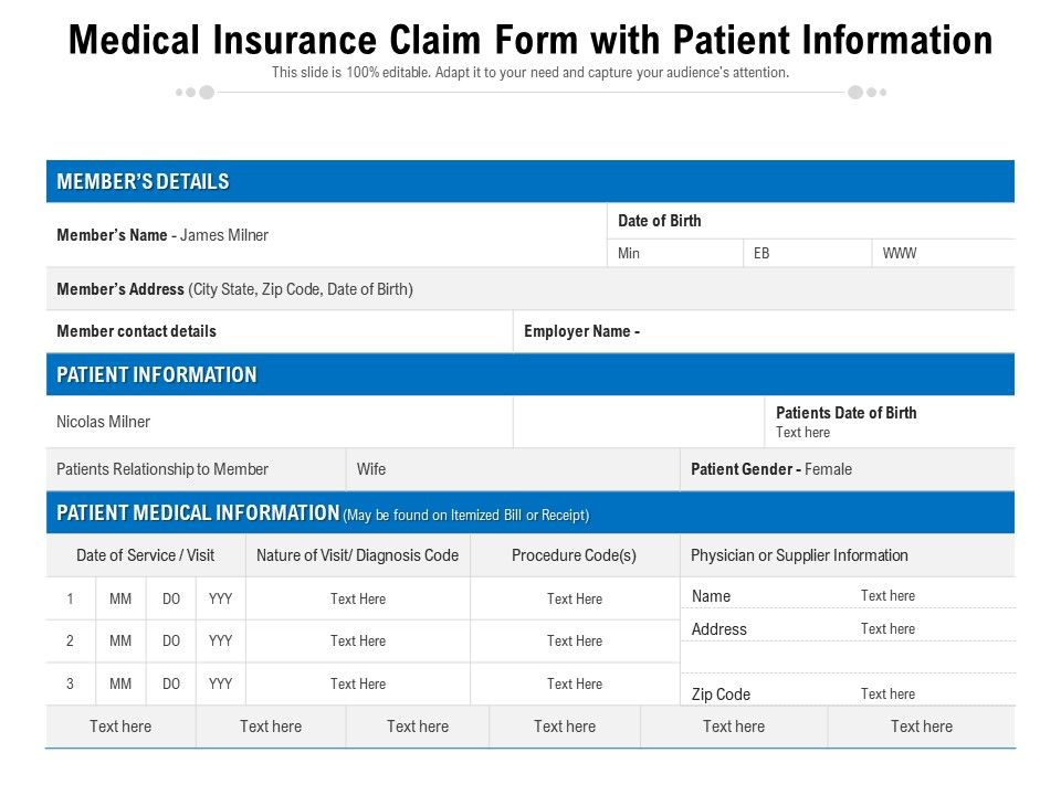 Medical Insurance Claim Form With Patient Information
