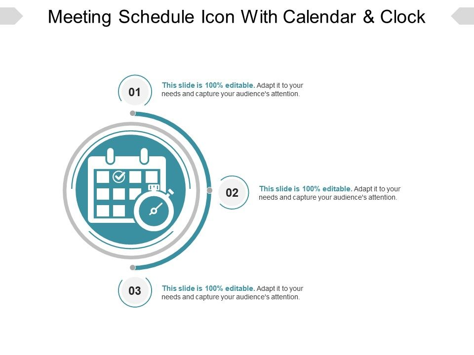 Meeting_schedule_icon_with_calendar_and_clock_ppt_example_Slide01.  Meeting_schedule_icon_with_calendar_and_clock_ppt_example_Slide02