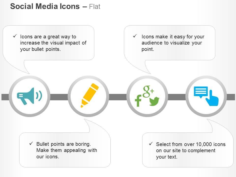 megaphone pencil google plus facebook twitter message ppt icons