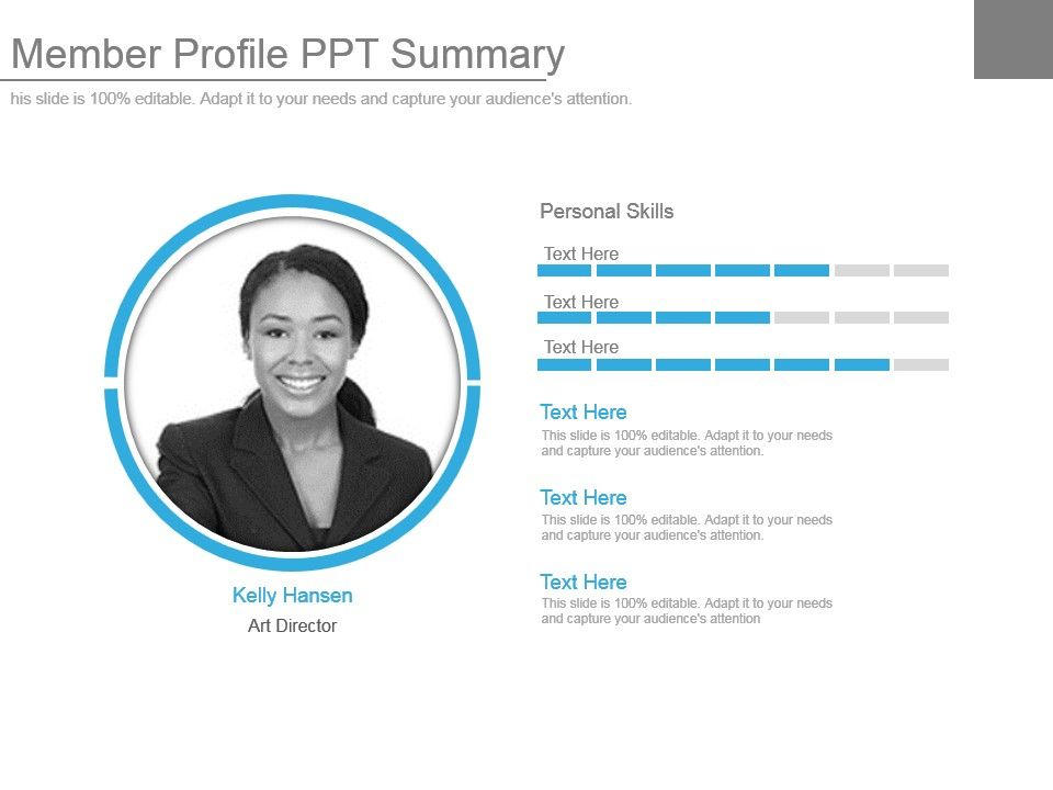 personal profile design templates - member profile ppt summary graphics presentation