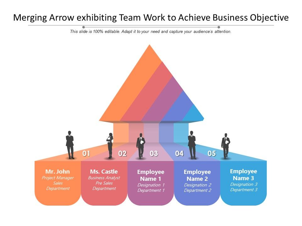 Merging Arrow Exhibiting Team Work To Achieve Business Objective