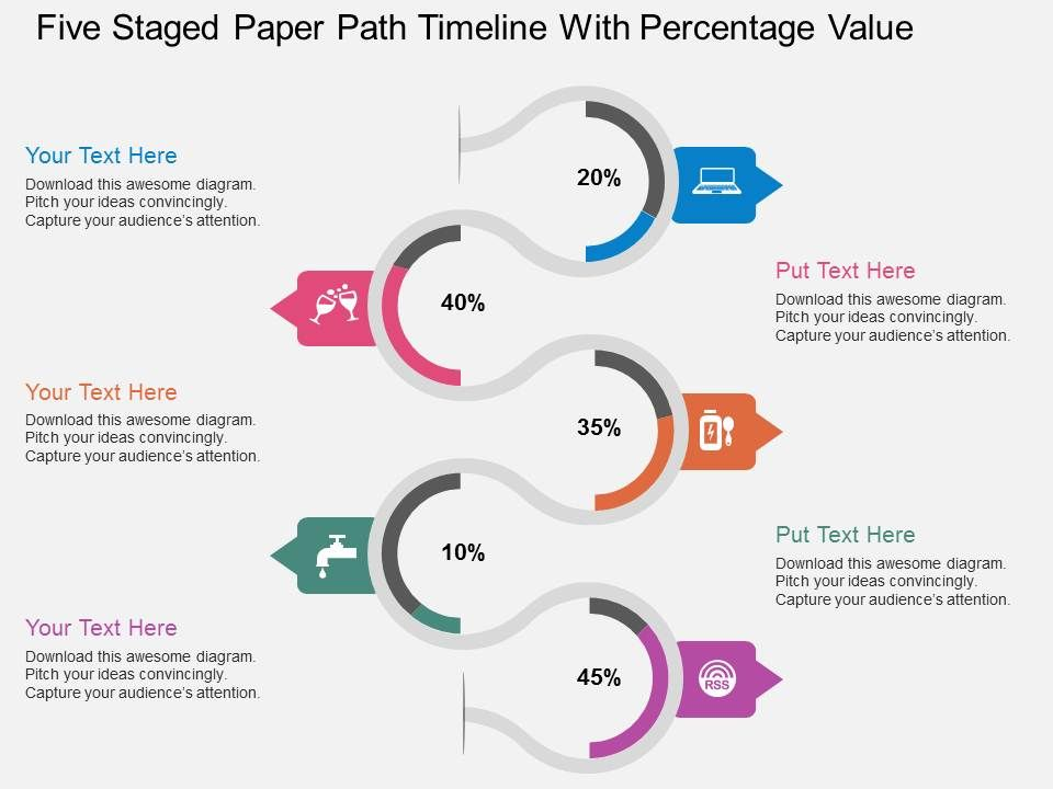 mh_five_staged_paper_path_timeline_with_percentage_value_flat_powerpoint_design_Slide01