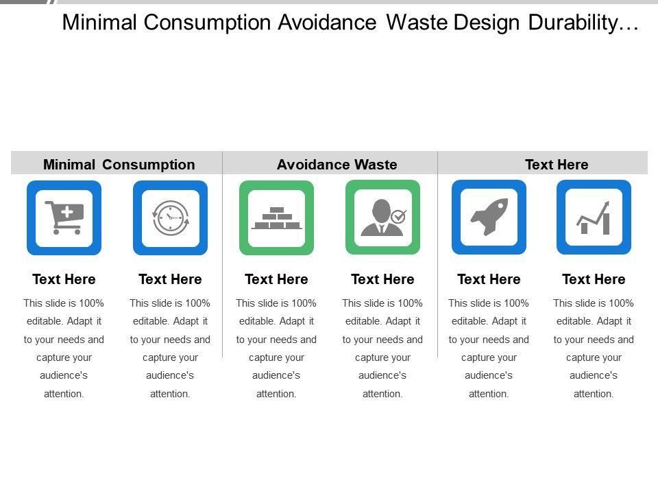 Minimal Consumption Avoidance Waste Design Durability Product - Unique outline template for presentation concept