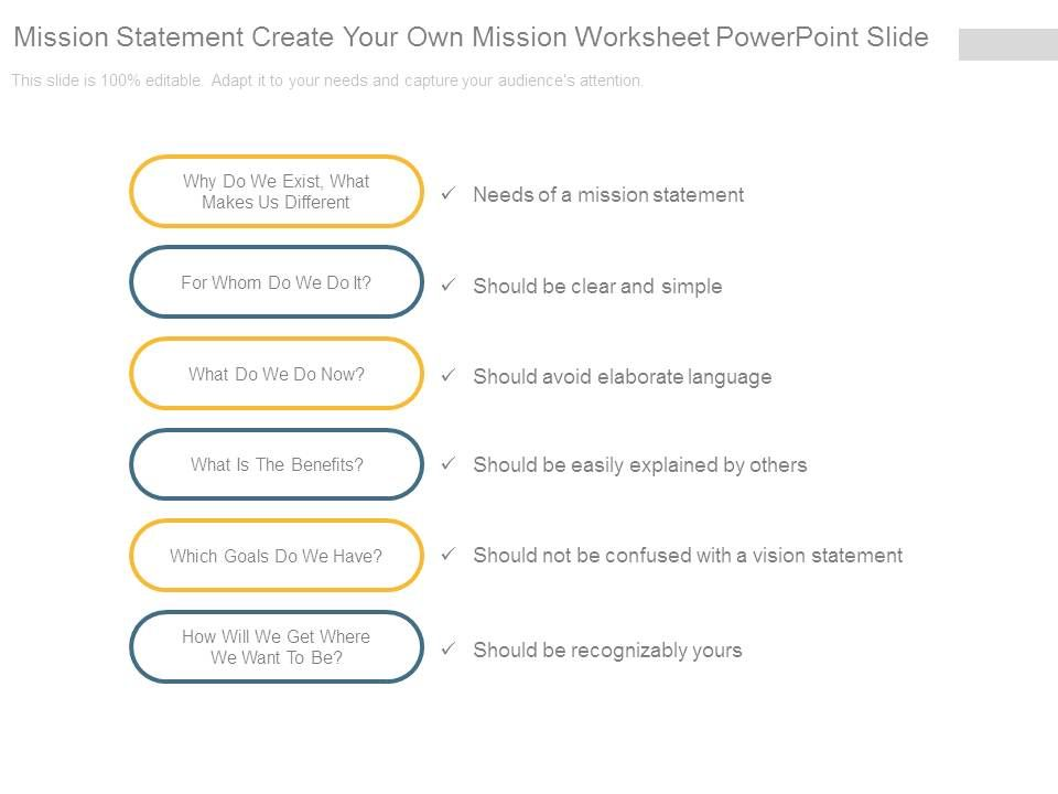 Mission Statement Create Your Own Mission Worksheet ...