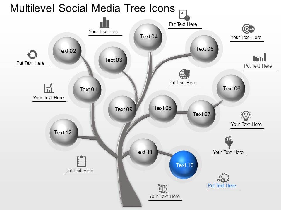 Mj Multilevel Social Media Tree Icons Powerpoint Template