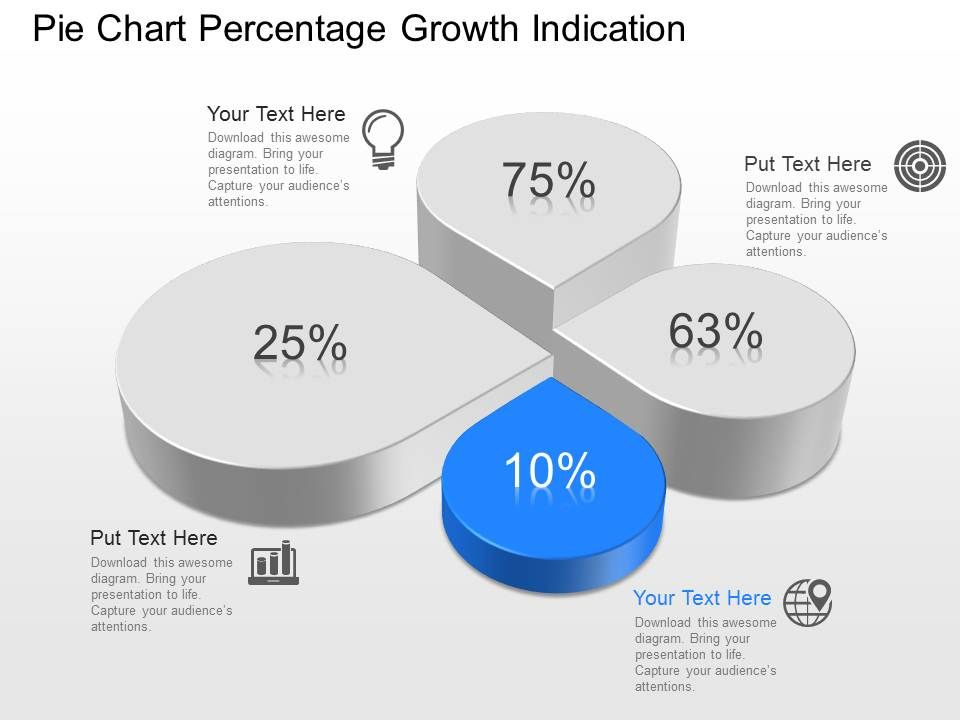 ml Pie Chart Percentage Growth Indication Powerpoint Template – Pie Chart Templates