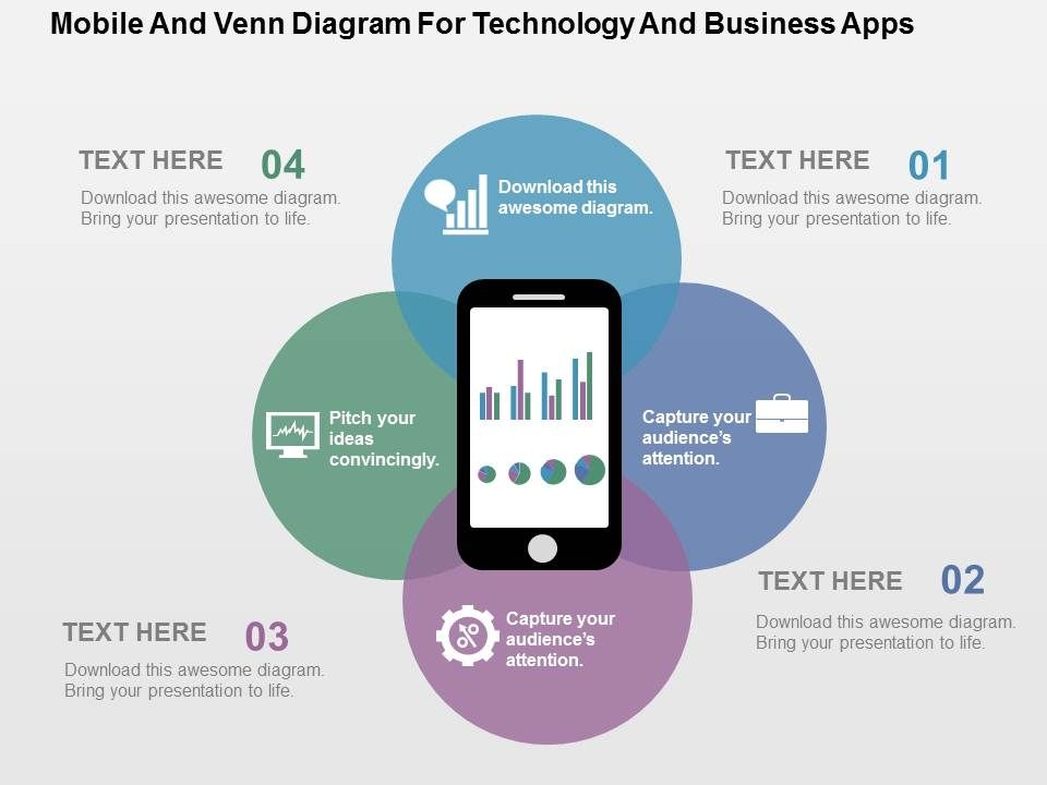 Mobile And Venn Diagram For Technology And Business Apps Flat