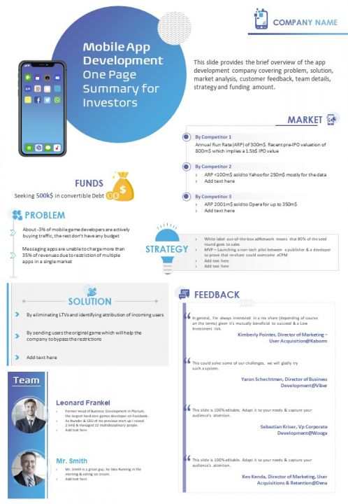 Mobile App Development One Page Summary For Investors Document PPT PDF Doc Printable