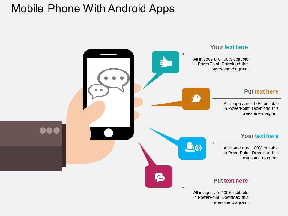 mobile_phone_with_android_apps_flat_powerpoint_design_Slide01