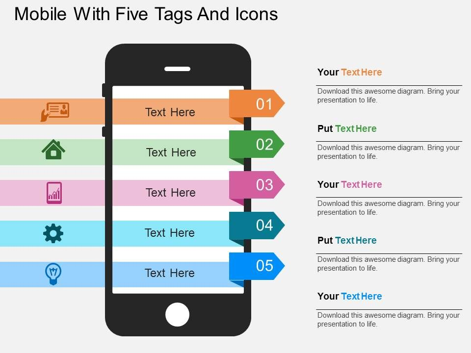 mobile_with_five_tags_and_icons_flat_powerpoint_design_Slide01