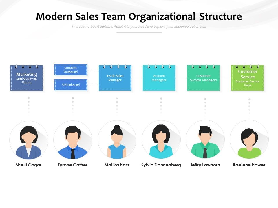 Modern Sales Team Organizational Structure Powerpoint Slide Images Ppt Design Templates Presentation Visual Aids