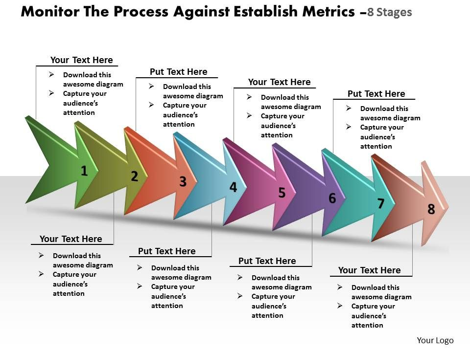Monitor the process against establish metrics 8 stages online flow monitortheprocessagainstestablishmetrics8stagesonlineflowchartcreatorpowerpointtemplatesslide01 toneelgroepblik