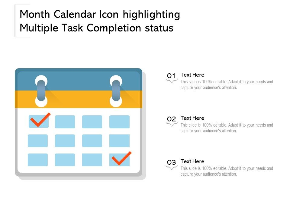 Month Calendar Icon Highlighting Multiple Task Completion Status