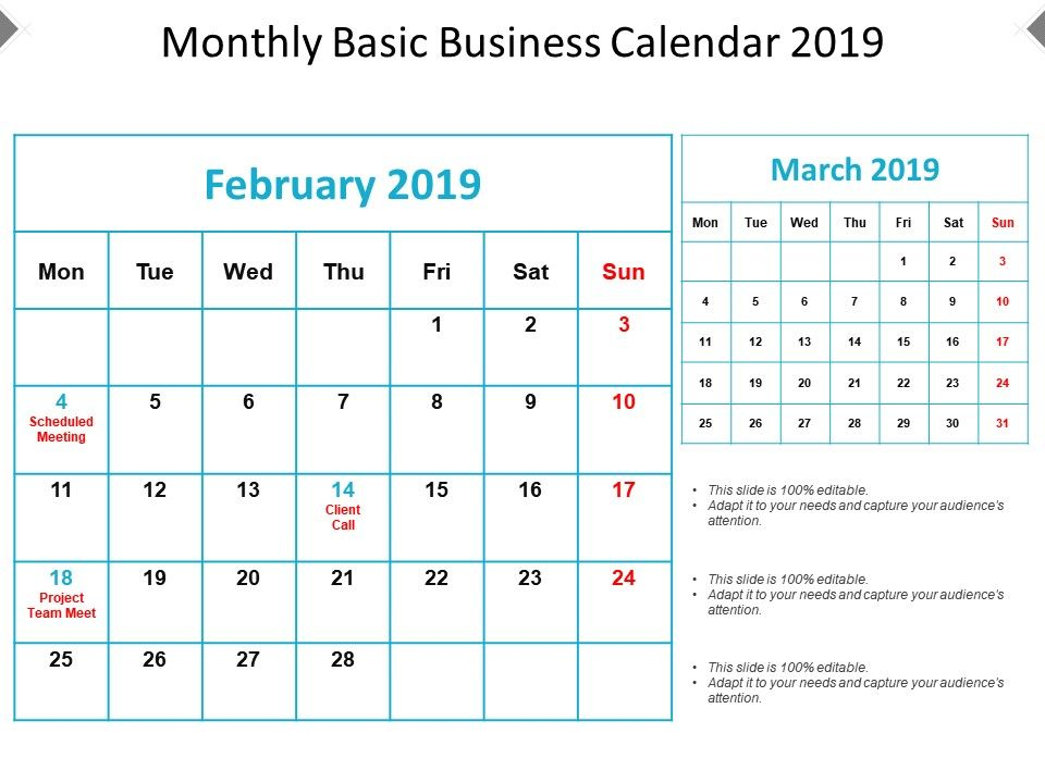 monthly basic business calendar 2019 presentation graphics