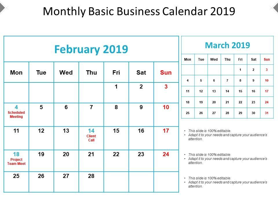 monthly basic business calendar 2019 presentation graphics
