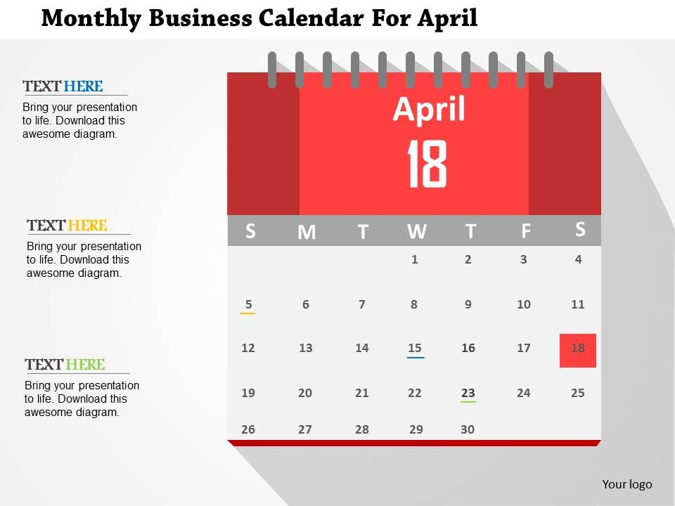 Calendar Design Powerpoint : Monthly business calendar for april flat powerpoint design