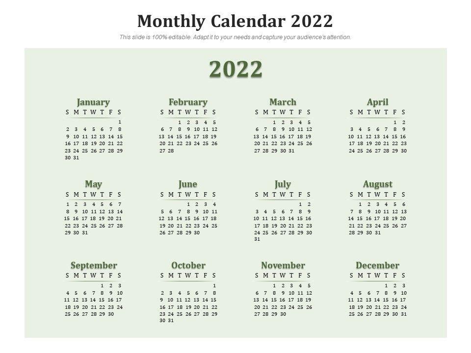 2022 Biweekly Calendar.Monthly Calendar 2022 Presentation Graphics Presentation Powerpoint Example Slide Templates