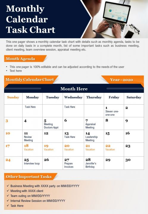 Monthly Calendar Task Chart Presentation Report Infographic PPT PDF Document