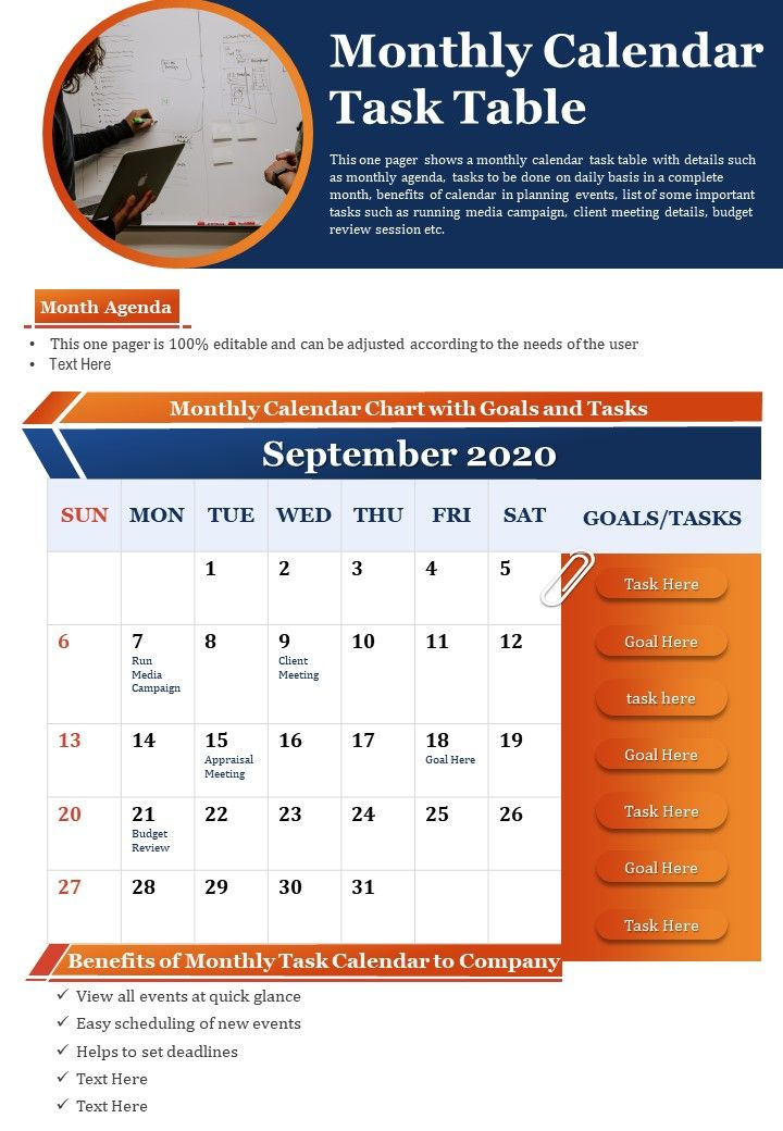 Monthly Calendar Task Table Presentation Report Infographic PPT PDF Document