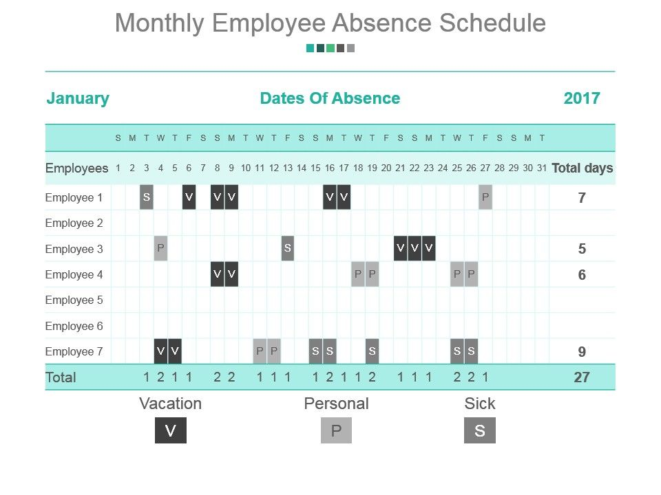 monthly employee absence schedule powerpoint slide background