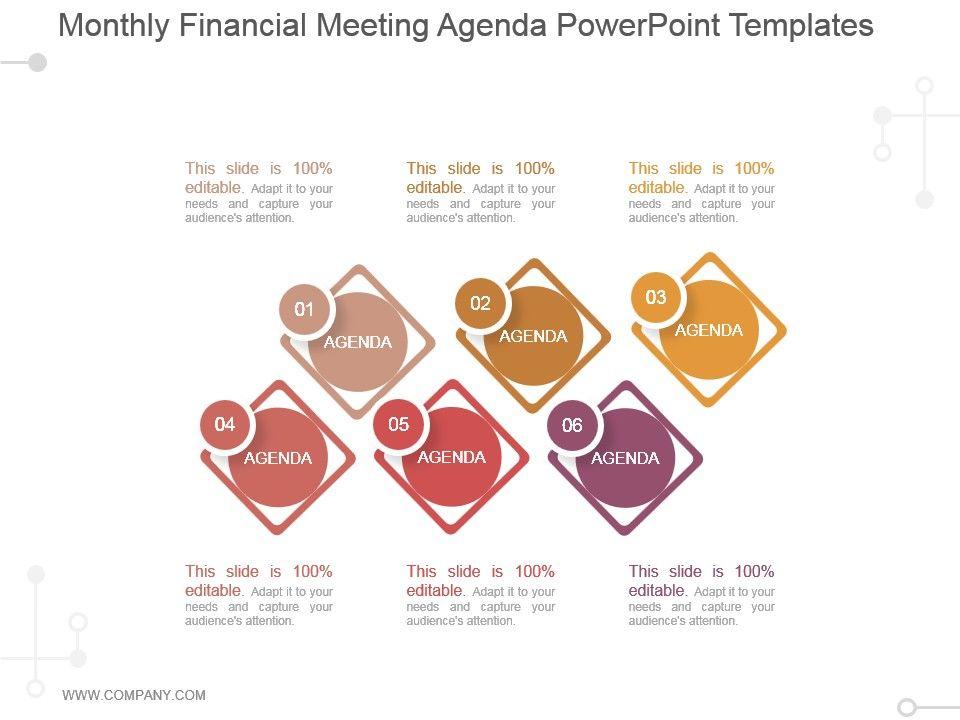 Monthly Financial Meeting Agenda Powerpoint Templates Slide01 Slide02