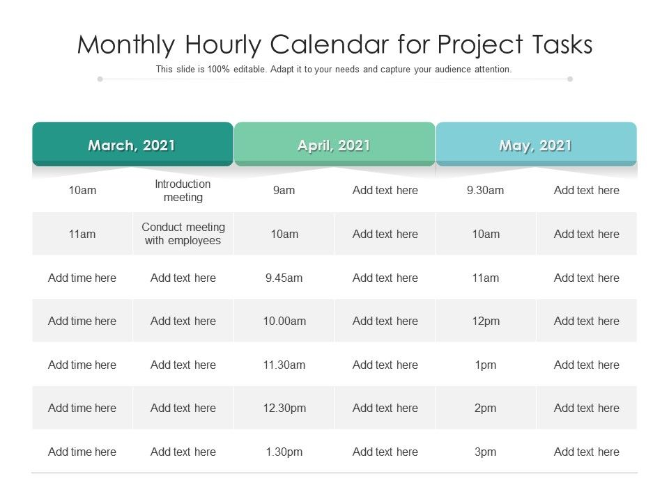 Monthly Hourly Calendar For Project Tasks