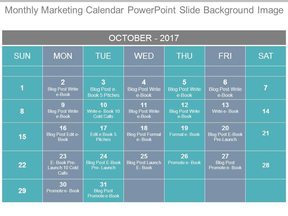 Monthly Marketing Calendar Powerpoint Slide Background Image
