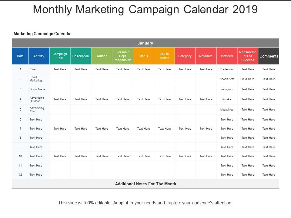 Monthly Marketing Campaign Calendar 2019 Powerpoint Shapes