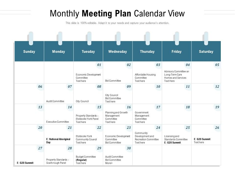 Monthly Meeting Plan Calendar View