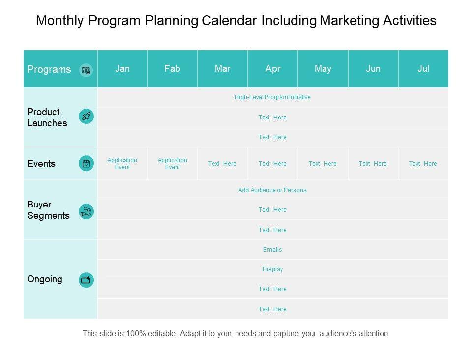Monthly Program Planning Calendar Including Marketing Activities
